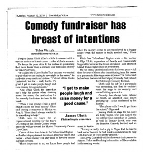 comedy fundrasier The Boob Tour in Hinton